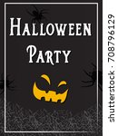 halloween party banner with... | Shutterstock . vector #708796129