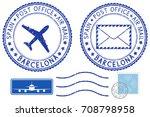 postmarks barcelona  spain.... | Shutterstock .eps vector #708798958