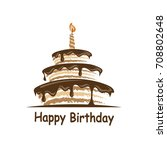 design of birthday cake with... | Shutterstock .eps vector #708802648