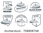 set of jet ski rental logo ... | Shutterstock . vector #708808768