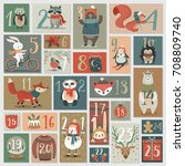 christmas advent calendar  hand ... | Shutterstock .eps vector #708809740