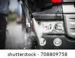 manual truck washing using high ... | Shutterstock . vector #708809758