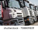 Pre Owned Euro Trucks For Sale. Row of Trucks with Shallow Depth of Field.  - stock photo