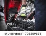 semi trucks mechanic preparing... | Shutterstock . vector #708809896