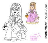 cute girl in princess costume... | Shutterstock .eps vector #708810250