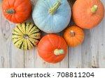 autumn pumpkins on wooden... | Shutterstock . vector #708811204