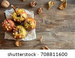 homemade caramel apples on a... | Shutterstock . vector #708811600