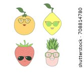 set of hand drawn cute funny... | Shutterstock .eps vector #708814780