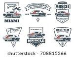 set of classic muscle car logo  ... | Shutterstock . vector #708815266