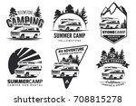 set of monochrome camper van... | Shutterstock . vector #708815278