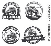set of off road suv car round... | Shutterstock . vector #708815290