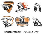set of racing motorcycle logo ... | Shutterstock . vector #708815299