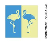 vertical banner two flamingos... | Shutterstock .eps vector #708815860