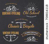 set of vintage road bicycle... | Shutterstock . vector #708816118