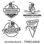 set of vintage road bicycle... | Shutterstock . vector #708816868