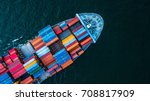 aerial top view container cargo ... | Shutterstock . vector #708817909