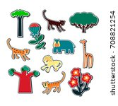 collection of stickers with...   Shutterstock .eps vector #708821254