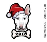 bull terrier portrait ... | Shutterstock .eps vector #708821758