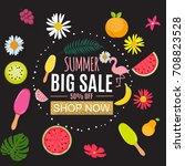 summer sale abstract banner... | Shutterstock . vector #708823528