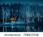 night dark forest and old house ... | Shutterstock . vector #708825358