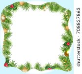 christmas border with snowdrifts | Shutterstock . vector #708827863