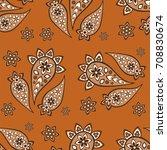 seamless paisley  pattern ... | Shutterstock .eps vector #708830674