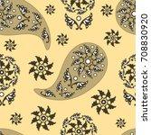yellow  seamless paisley ...   Shutterstock .eps vector #708830920