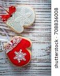 christmas cookies on vintage... | Shutterstock . vector #708836008