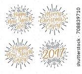 christmas emblem set elements... | Shutterstock . vector #708839710