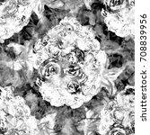 fantastic floral pattern. black ... | Shutterstock . vector #708839956
