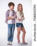 full length of beautiful little ... | Shutterstock . vector #708842590