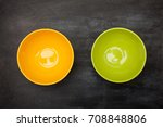 color bowl on table.  top view. | Shutterstock . vector #708848806