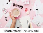 female hand with coffee cup ... | Shutterstock . vector #708849583