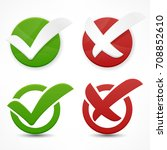 green and red checkmark on... | Shutterstock .eps vector #708852610