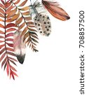 feathers  autumn leaves  card... | Shutterstock . vector #708857500
