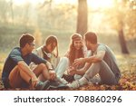 group of friends relaxing the... | Shutterstock . vector #708860296