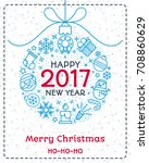 christmas greeting card color... | Shutterstock . vector #708860629