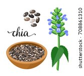 superfood fruit. chia seeds and ... | Shutterstock .eps vector #708861310
