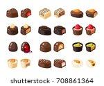 set of chocolate covered bonbon ... | Shutterstock .eps vector #708861364