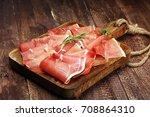 italian prosciutto crudo or... | Shutterstock . vector #708864310