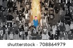 businessman leader stand out... | Shutterstock .eps vector #708864979