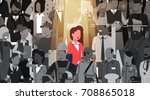 businesswoman leader stand out... | Shutterstock .eps vector #708865018