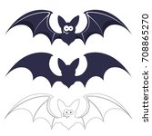 bats vector set isolated on... | Shutterstock .eps vector #708865270