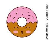 kawaii donut dessert pastry...   Shutterstock .eps vector #708867400