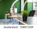 Green Office Interior  With A...