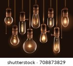 realistic vintage glowing light ... | Shutterstock .eps vector #708873829