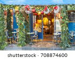 typical parisian cafes... | Shutterstock . vector #708874600