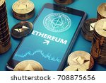 smartphone with ethereum growth ... | Shutterstock . vector #708875656