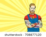 tattooed hipster auto mechanic. ... | Shutterstock .eps vector #708877120