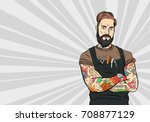tattooed hipster barber man.... | Shutterstock .eps vector #708877129